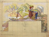 sans titre (5 preparatory drawings) by leo fontan