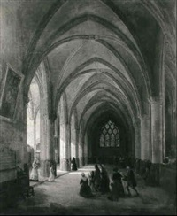 interieur d'une eglise gothique by louis courtin
