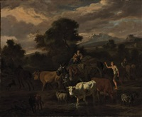 an italianate landscape with a herder by dirk van bergen