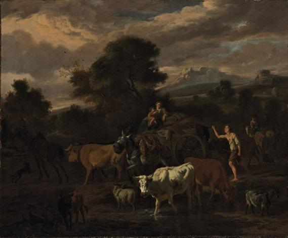 an italianate landscape with a herder by dirk van bergen