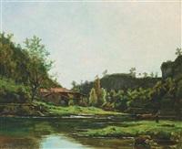 paysage de l'isère, près d'optevoz by gustave allemand