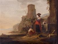 scène de port italien avec six personnages près d'une fontaine by thomas wijck
