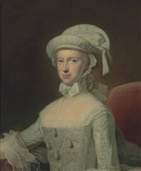 portrait of a lady, half-length, in a white embroidered lace-trimmed dress and a bonnet, seated in an interior by thomas hudson