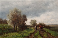 country road with cow by willem roelofs
