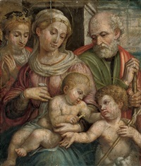 the holy family with the infant saint john the baptist and saint catherine of alexandria by innocenzo di pietro (da imola) francucci