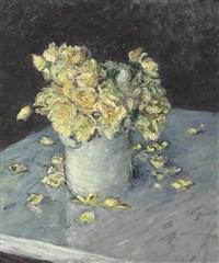 roses jaunes dans un vase by gustave caillebotte