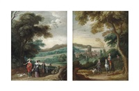 a wooded landscape with elegant figures strolling (+ a landscape with travellers on a sandy path, a town beyond; pair) by jasper van der laanen