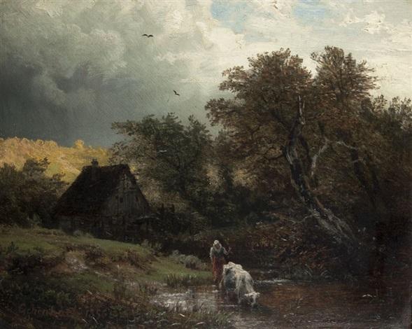 aufziehendes gewitter an der wassermühle by andreas achenbach