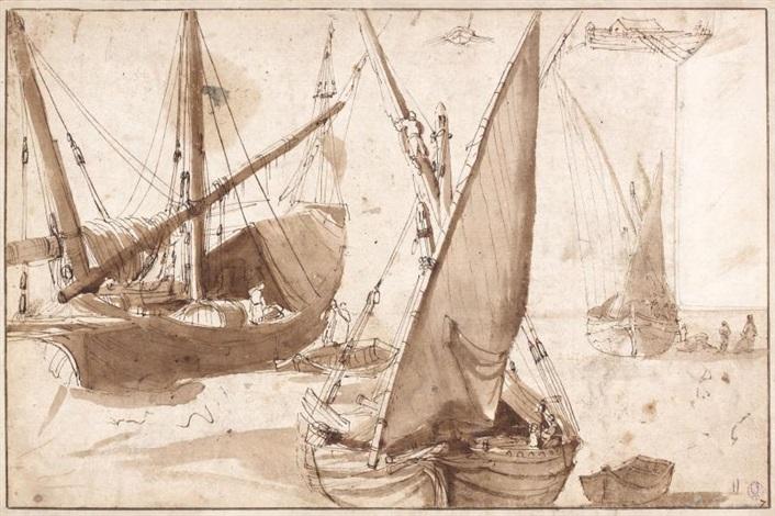 etudes de bateaux study by claude lorrain