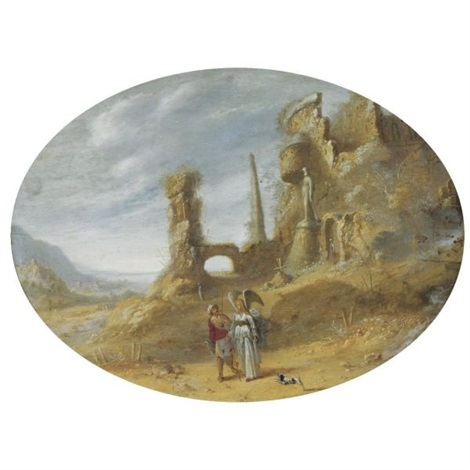 an italianate landscape with tobias and the angel near classical ruins by rombout van troyen