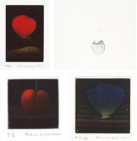 crimson butterfly/ persimmon/ california cherry/ blue butterfly (set of 4) by yozo hamaguchi