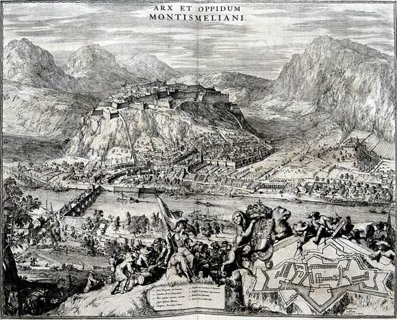 arx et oppudum montismeliani from theatrum statuum regiae celestudinis sabaudiae ducis by romeyn de hooghe