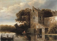 a river landscape with fishermen in a rowing boat, a farmhouse nearby by michel van vries