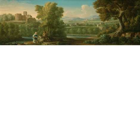 italian landscape with a peasant couple in the foreground by jan frans van bloemen