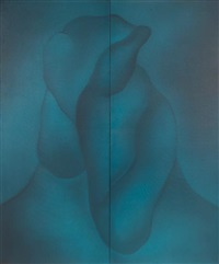 the two souzas - blue (diptych) by unver shafi khan