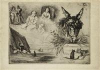 feuille d'études avec tête d'âne à la mangeoire (study) by ludovic lepic