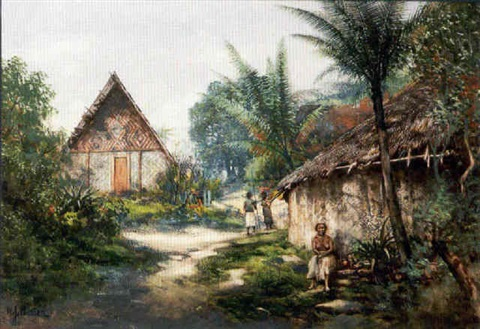 a native village new guinea by william joseph wadham
