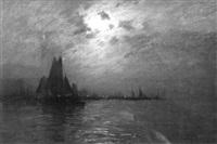 voiliers dans un port au soleil couchant à chioggia, lagune de venise by daniel-jules-camille koechlin