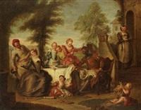 don quichotte servi par les filles de l'hôtellerie by charles-antoine coypel