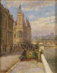 le marchand de fleurs sur les quais by louis battin