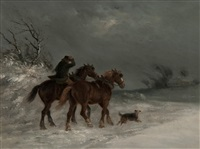 returning home in the snow (+ highland cattle in the snow; pair) by thomas smythe