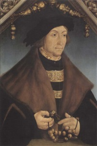 a portrait of the count palatine george of wittelsbach,   bishop of speyer by hans wertinger