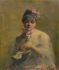 portrait de jeune femme à la colombe by fanny laurent fleury