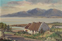 irish landscape with lakeside cottage by rowland hill