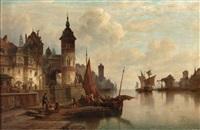 holländische hafenszene by henry jackel