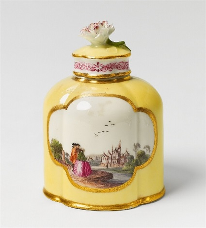 a meissen yellow ground tea caddy