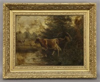 cows in a wooded landscape by frederick von luerzer