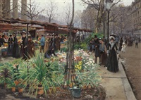 a flower market, paris by victor barvitius