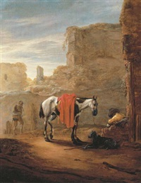 a horse and traveller resting on a road with ruins beyond by pieter cornelius verbeeck