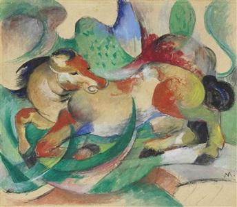 springendes pferd by franz marc