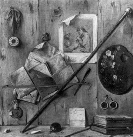 nature morte au trompe oeil à la palette de peintre by antonio cioci
