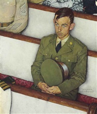 willie gillis in church by norman rockwell
