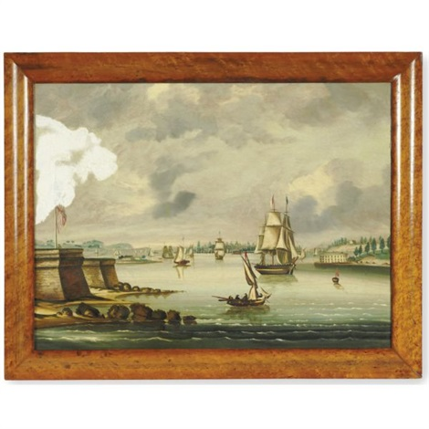 view of manhattan from bedloes island by thomas chambers