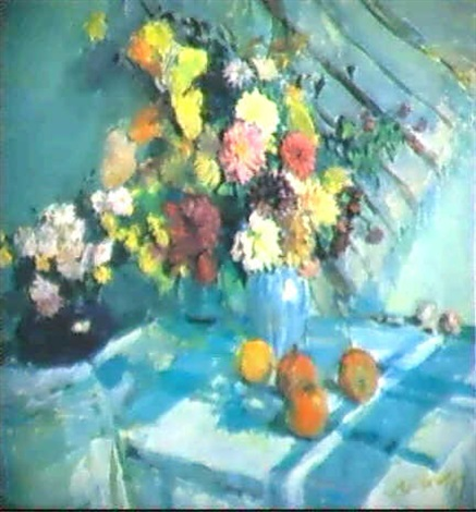nature morte a la nappe bleue by viktor antonovich apanovitch