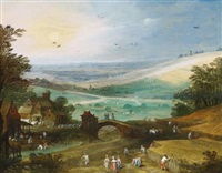 a summer landscape with figures bringing in the harvest by philips de momper the elder