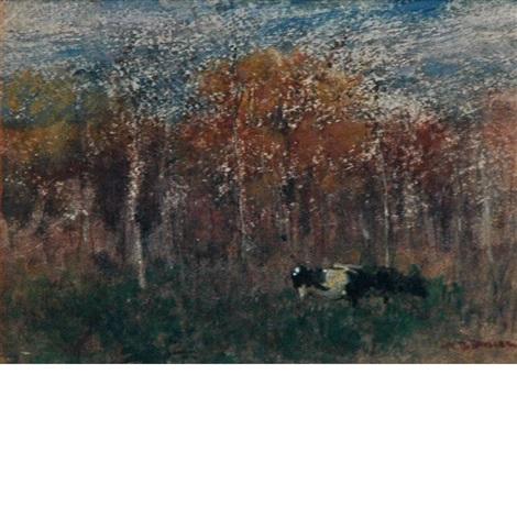 cows in a landscape by arthur bowen davies