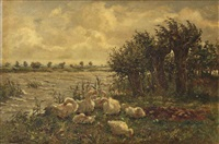 a wooded river landscape with geese by cornelis koppenol