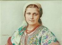 portret dziewczyny w krakowskim stroju by piotr stachiewicz