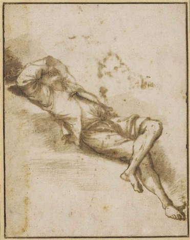 a sleeping man on a bank with his arm thrown across his face by salvator rosa