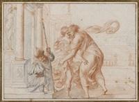 deux vertus se donnant l'accolade devant un soldat nain by pierre brebiette