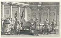 the lying-in-state of the emperor paul i, with a guard of honour, in a neoclassical interior by giacomo quarenghi