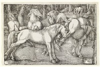 group of six wild horses by hans baldung grien