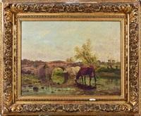 vaches à la rivière by clement (charles-henri) quinton