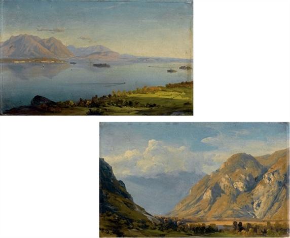 il lago maggiore dai monti sopra baveno con lisola madre e verbania sullo sfondo lo sbocco del fiume toce a verbania 2 works by massimo dazeglio