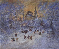la fête devant le palais by alexis guy korovin