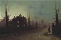 A lady on a street corner, early evening, after...
